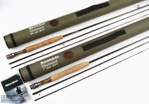 2x Snowbee Diamond Carbon Fly Rods 8ft 3 piece and 7ft 3 piece, both line 3/4#, both in cordura