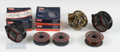 """2x Leeda LC Series Fly Reels – 3 ½"""" LC 100 with spare spool and LC 60 3 ¼"""" with box and 2 boxed"""