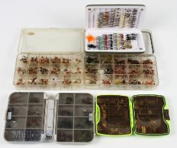 5x Boxes of Flies containing 400+ dry flies and nymphs, most appear unused, housed in 2 clear