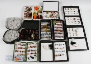 8x Fly Boxes and Flies containing 250+ wet and dry trout flies, housed in 1x C&F large box, 3x