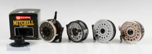 """Garcia Mitchell Fly Reels – 710 automatic in original box, 7550 3 ¼"""" with champagne finish and a 752"""