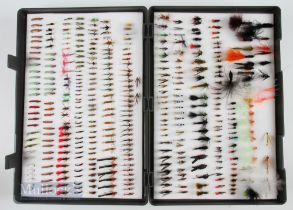 """Large Double Sided Fly Box with 400+ Trout Flies incl nymphs, lures, buzzers etc, box size 13"""" x"""