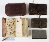 4x Leather Fly & Cast Wallets with a small selection of mixed small flies, one having removable
