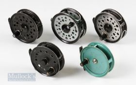 """5x Youngs Fly Reels – 2x Youngs & Son 3 ¼"""" reels, one having retaining screw replaced and a 3 3/8"""""""