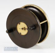 """D Slater's Patent 556 4 ½"""" Ebonite and Brass Star Back Reel with nickel silver rim, on/off check,"""