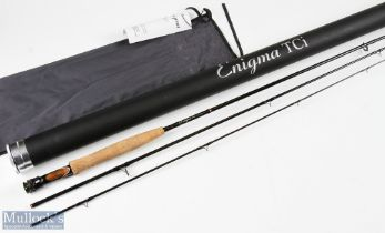 Enigma TCI Carbon 9ft 3 Piece Fly Rod line 5/6# with double uplocking wood insert reel seat, very