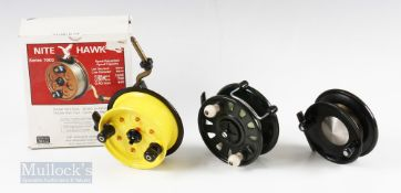 3x Centrepin Reels – Night Hawk 7003 double side casting reel with built in alarms, in original