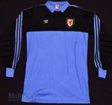 1980s Wales International Goalkeeper football shirt Adidas, in blue and black, size XL, No 12 to