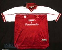 2003/04 Barry Town United Away/Euro football shirt size XXL, short sleeve, Errea, maroon and white