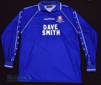 2002/03 Caersws FC Home 'Intertoto Cup' football shirt size L 42/44, in blue, Prostar, long sleeve