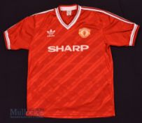 1986/88 Manchester United Home football shirt size XL, in red and white, Adidas, short sleeve