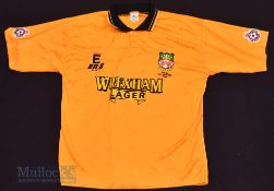 "1994/95 Wrexham Away football shirt size 38-40"" in gold, E.N.S, short sleeve with football league"