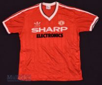 1982/83 Manchester United Home football shirt size large, red, Adidas, short sleeve