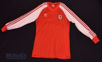 1983/84 Wales International Home football shirt size medium, in red and white, Adidas, long