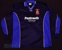 c2000s Bangor City FC Away football shirt size XL, in black and blue, Errea, long sleeve
