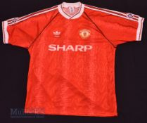 """1990/92 Manchester United Home football shirt size 42-44"""", in red, Adidas, short sleeves, with"""