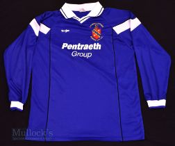 c2000 Bangor City FC Home football shirt size XL, in blue and white, Teejac, long sleeve