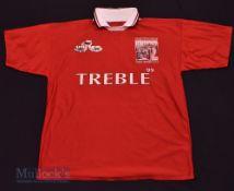 Manchester United Treble Winners Souvenir football shirt in red, short sleeve, M.U, no label, M/L
