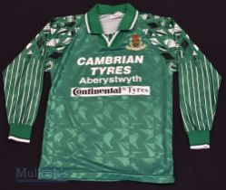 """Aberystwyth Town AFC Home football shirt size 36"""" in green and white, Ffigar, long sleeve"""