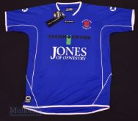 Welshpool Town Home football shirt size M/L, in blue and white, Stanno, short sleeve