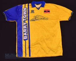 1990s Barry Town Home football shirt size XL, in yellow and blue, Errea, short sleeve
