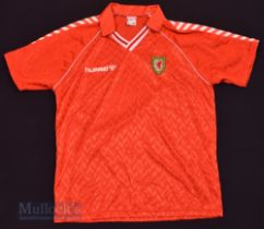 1987/90 Wales International Home football shirt size XL, in red and white, Hummel, short sleeve
