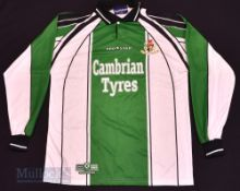 Aberystwyth Town AFC Home football shirt size L 42/44, in green and white, Prostar, long sleeve