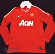 2010/11 Manchester United Home football shirt size large, in red, Nike, long sleeve