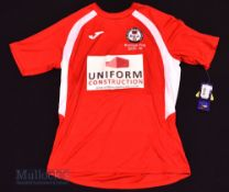 2015/16 Bala Town Europa Cup football shirt size M, in red and white, Joma, short sleeve