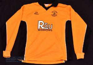 """Carmarthen Town AFC Home football shirt size 40"""", long sleeve, black and gold colour, MG Sports"""
