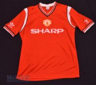 1984/86 Manchester United Home football shirt size large, Adidas, in red and white, short sleeve