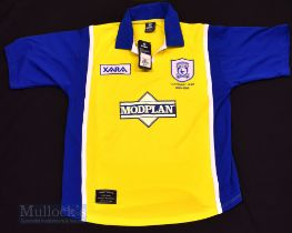 1999 Cardiff City Away football shirt size large, in yellow and blue, Xara, short sleeve