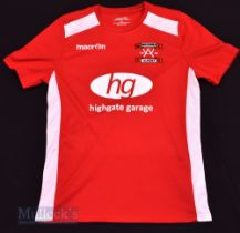 Whitchurch Alport Home football shirt size L, in red and white, Macron, short sleeve