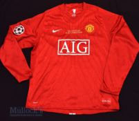 2008 Champions League Final Manchester United football shirt in red, M.U, size XL, 'Final Moscow