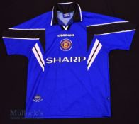 1996/97 Manchester United Third football shirt size L, in blue, black and white, short sleeve