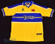 1999/01 Barry Town United Home football shirt size L, in yellow and blue, Errea, short sleeve
