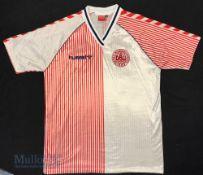 1986 Denmark International Away football shirt size XL, Hummel, in white and red stripes, short