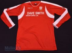 Newtown AFC Home football shirt size XXL, in red, long sleeve, Macron, with League badges to