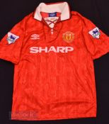 1992/94 Manchester United Home football shirt size L, in red and white, short sleeve, league