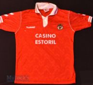 1992/93 Benfica Home football shirt size large, Hummel, in red, short sleeve