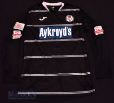 Late 2000s Bala Town football shirt size L, in black, long sleeve, Joma, with league badge to
