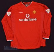 """2000/02 Manchester United Home football shirt size L 43"""", in red, Umbro, long sleeves, with league"""