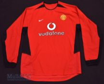 2002/04 Manchester United Home football shirt size L, in red and black, Nike, long sleeve