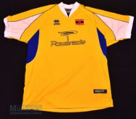 2003/04 Barry Town Home football shirt size XXL, in yellow and blue, Errea, short sleeve