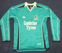 2000 Aberystwyth FC Home football shirt size L, in green, long sleeve, Canterbury New Zealand, 24-