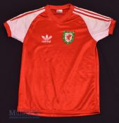 1980/83 Wales International Home football shirt size medium, in red and white, Adidas, short sleeve