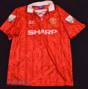 1992/94 Manchester United Home football shirt size large, in red, Umbro, short sleeve, with league