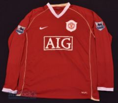 """2006/07 Manchester United Home football shirt size 42/44"""", in red, Nike, long sleeve, with league"""
