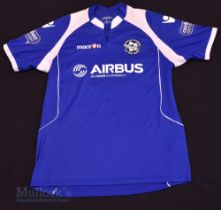 Airbus UK Home football shirt size large, in blue, short sleeve, with 23 to the reverse, Macron,
