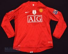 2009/10 Manchester United Home football shirt in red, size L, long sleeve, Nike, with 2008 FIFA
